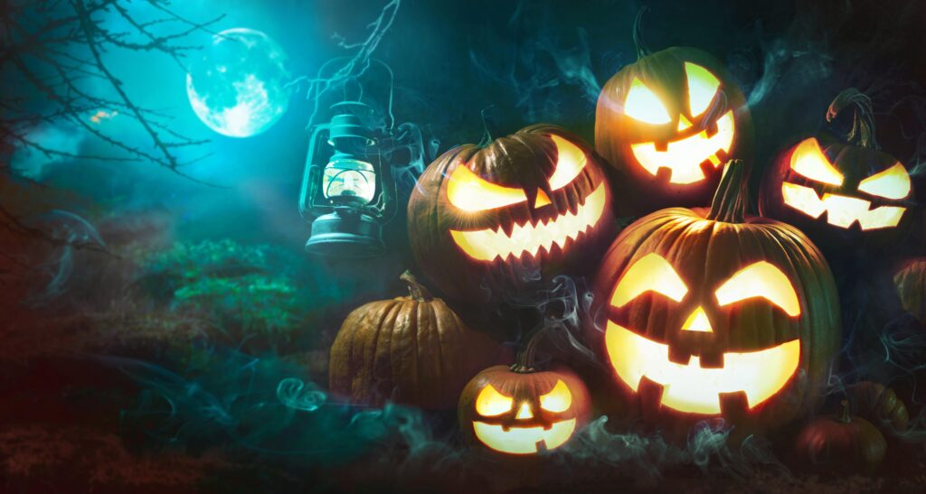 Firearms Legal Protection Halloween pumpkin head jack lantern with burning candles in scary deep night forest